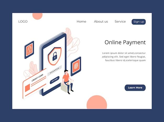 Página de inicio isométrica de pago en línea.