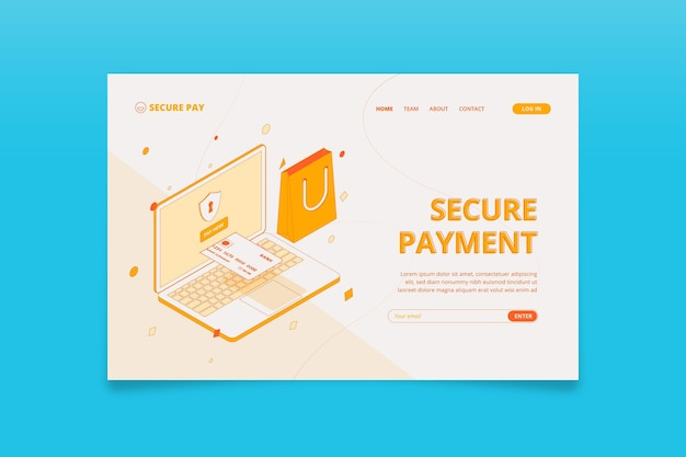Página de inicio isométrica de pago seguro