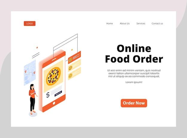 Página de inicio isométrica del pedido de comida en línea.