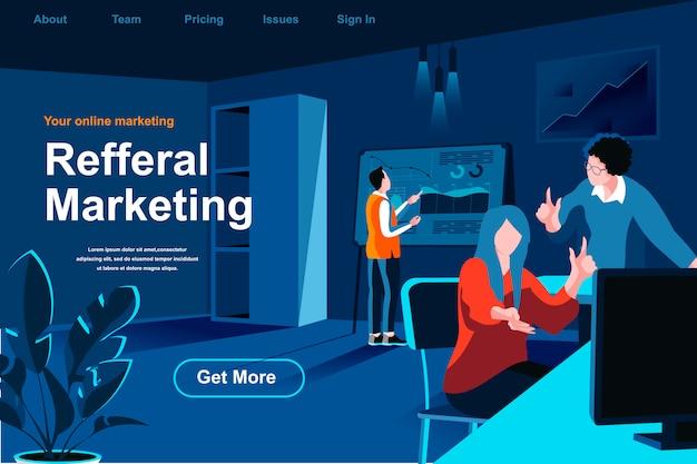Página de inicio isométrica plana de marketing de referencia.