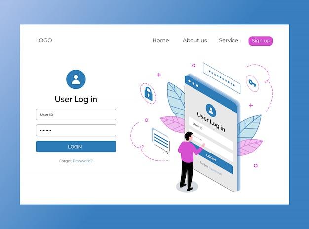 Página de inicio isométrica de la plantilla de inicio de sesión de usuario premium