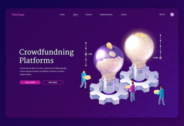 Página de inicio isométrica de plataformas de crowdfunding