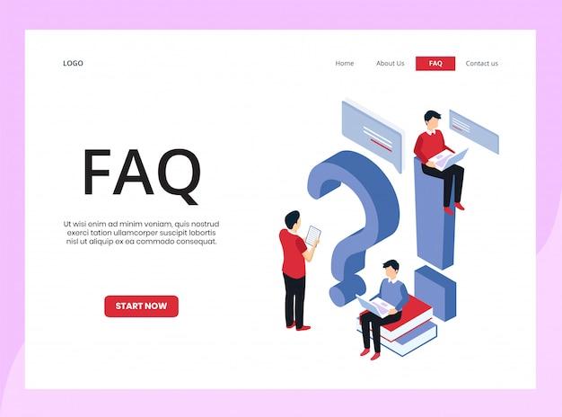 Página de inicio isométrica de preguntas frecuentes