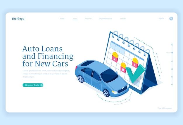 Página de inicio isométrica de préstamos para automóviles, nuevo concepto de financiación de automóviles con stand de automóviles en un calendario enorme