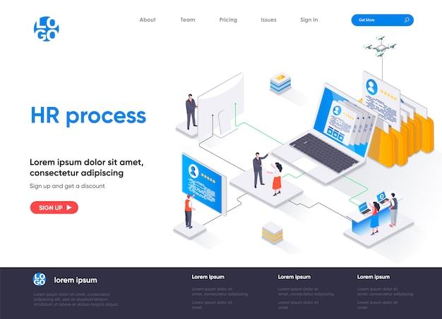 Página de inicio isométrica del proceso de recursos humanos