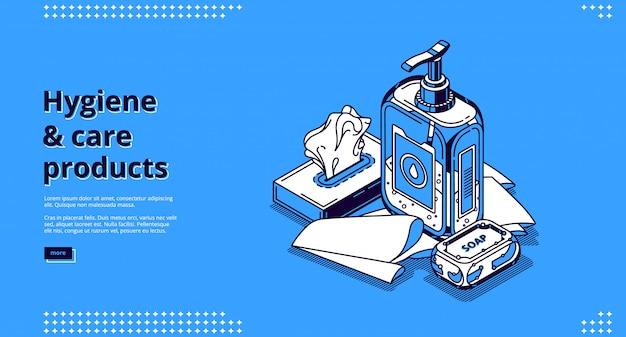 Página de inicio isométrica de productos de higiene y cuidado