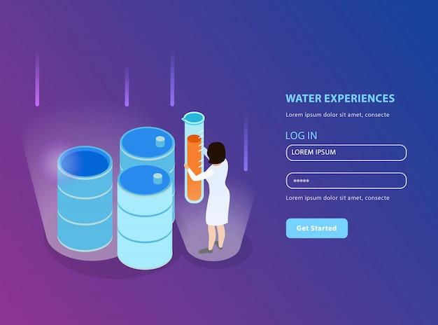 Página de inicio isométrica de purificación de agua para sitio web con formulario de registro e ilustración de descripción de experiencias de agua