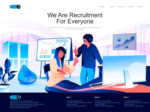 Página de inicio isométrica de reclutamiento con situación de personajes planos