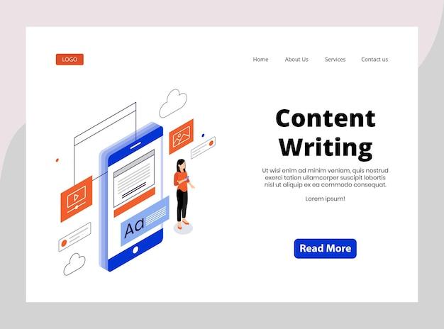 Página de inicio isométrica de redacción de contenido.