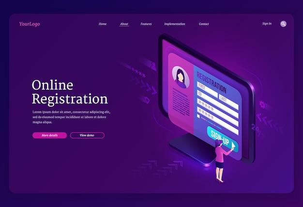 Página de inicio isométrica de registro en línea