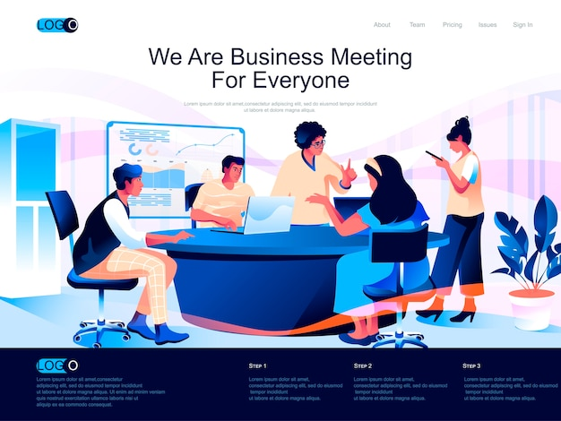 Página de inicio isométrica de reunión de negocios con situación de personajes planos
