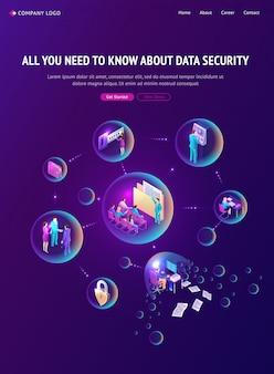 Página de inicio isométrica de seguridad de datos cibernéticos, banner