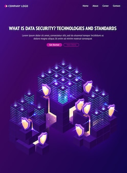 Página de inicio isométrica de seguridad de datos cibernéticos