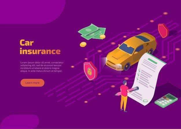 Página de inicio isométrica de seguro de automóvil con automóvil y conductor
