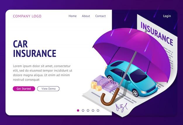 Página de inicio isométrica de seguro de automóvil