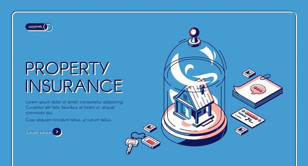 Página de inicio isométrica del seguro de propiedad. edificio inmobiliario de pie bajo cúpula de cristal con llaves, notas. servicio de protección contra accidentes domésticos.