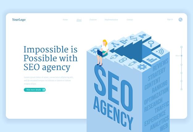Página de inicio isométrica del servicio de agencia seo