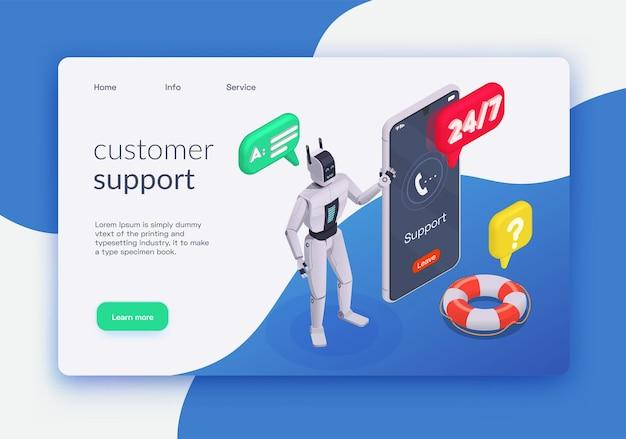 Página de inicio isométrica de servicio al cliente con soporte al cliente