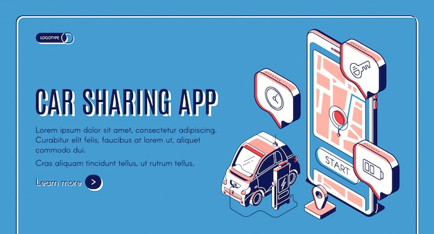 Página de inicio isométrica del servicio de la aplicación car sharing
