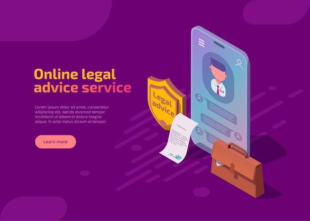 Página de inicio isométrica del servicio de asesoramiento legal en línea