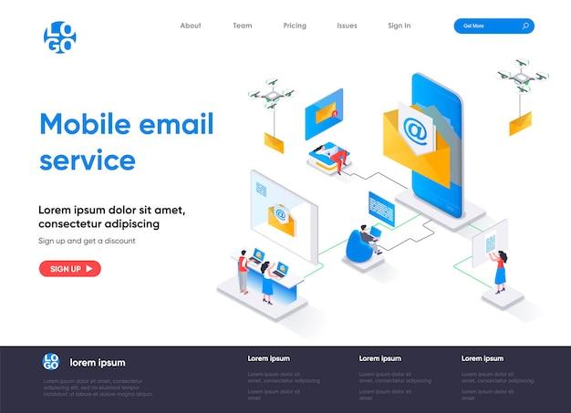 Página de inicio isométrica del servicio de correo electrónico móvil