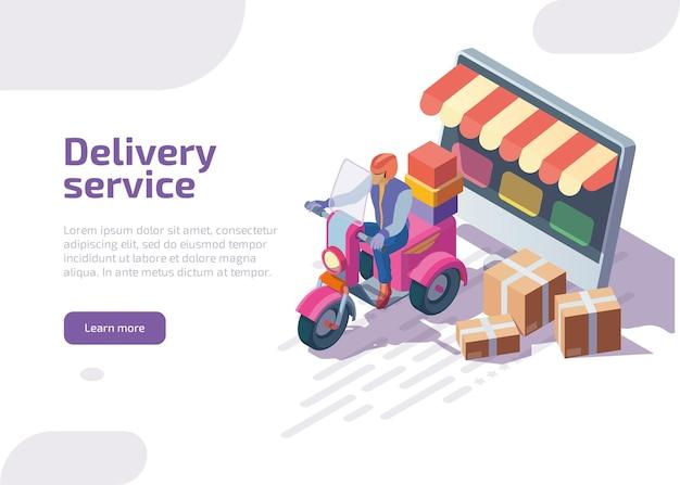 Página de inicio isométrica del servicio de entrega.