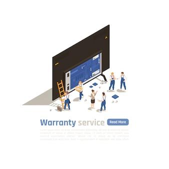 Página de inicio isométrica del servicio de garantía con un gran ícono de dispositivo despojado de piezas y pequeñas figuras de especialistas técnicos