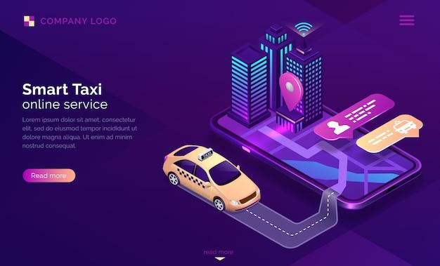Página de inicio isométrica del servicio en línea de taxis inteligentes