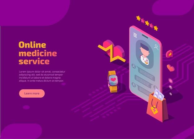 Página de inicio isométrica del servicio de medicina en línea.