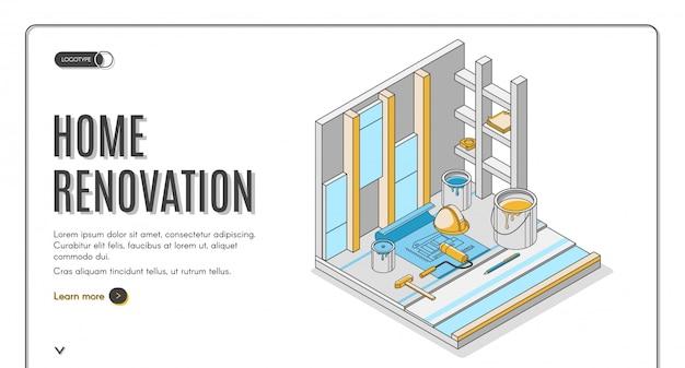 Página de inicio isométrica del servicio de reparación de renovación del hogar o plantilla de banner