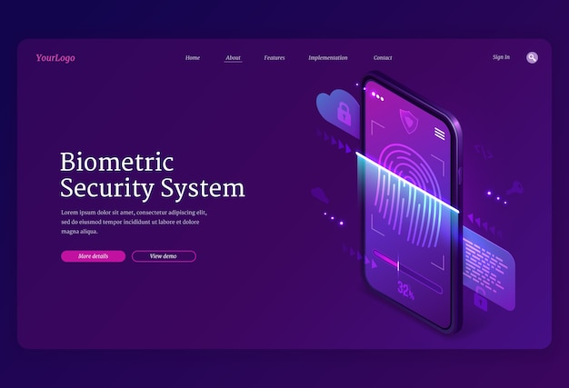 Página de inicio isométrica del sistema de seguridad biométrica. protección de datos personales, acceso en línea en la pantalla del teléfono inteligente con huella digital y bloqueo, verificación de la cuenta de usuario y privacidad, banner web 3d