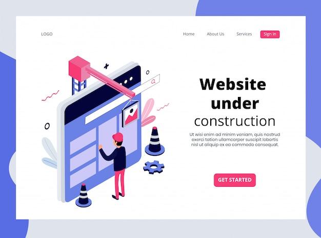 Página de inicio isométrica del sitio web en construcción