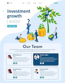 La página de inicio isométrica del sitio web de los empresarios invierte dinero y los ayuda a crecer y obtener ganancias