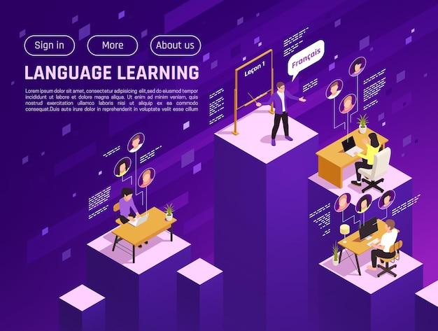 Página de inicio isométrica del sitio web de la escuela de idiomas en línea