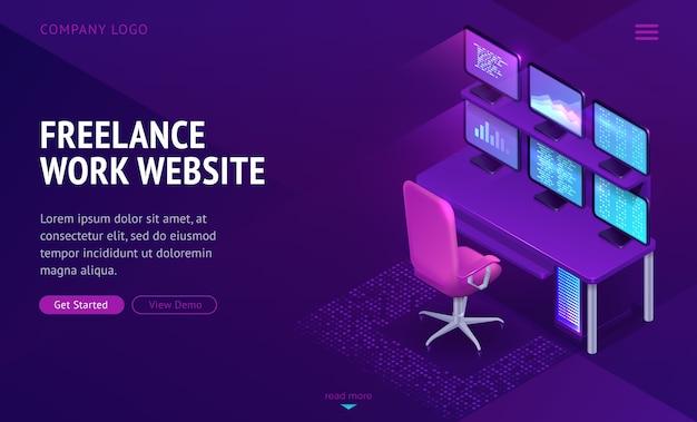 Página de inicio isométrica del sitio web de trabajo independiente