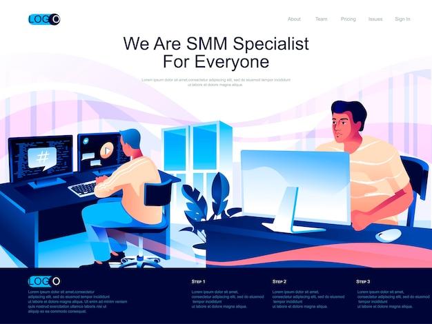 Página de inicio isométrica de smm specialist con situación de personajes planos
