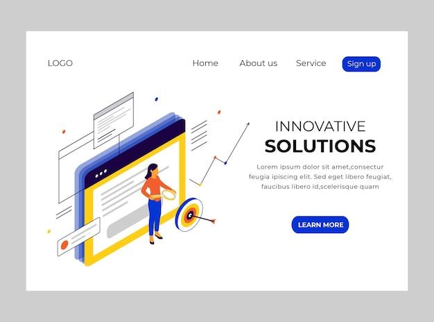 Página de inicio isométrica de soluciones innovadoras.
