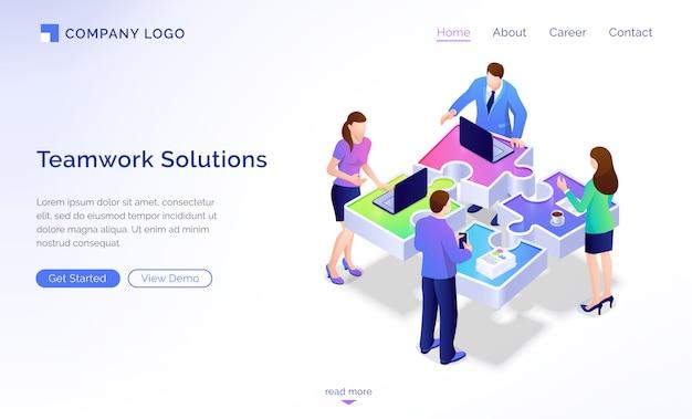 Página de inicio isométrica de soluciones de trabajo en equipo, banner