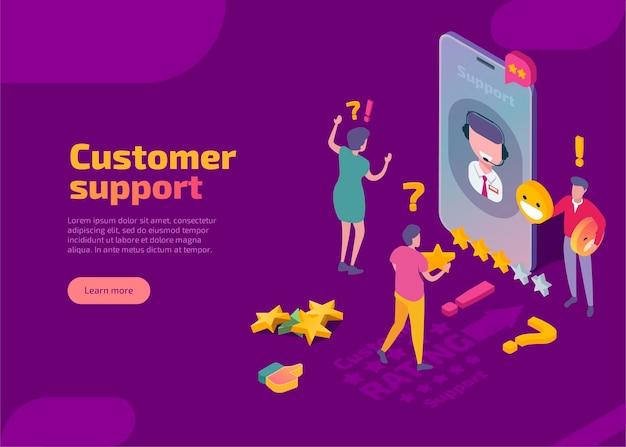 Página de inicio isométrica de soporte al cliente.