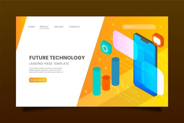 Página de inicio isométrica con tecnología futura