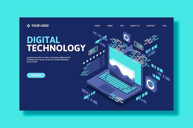 Página de inicio isométrica de tecnología de plantilla
