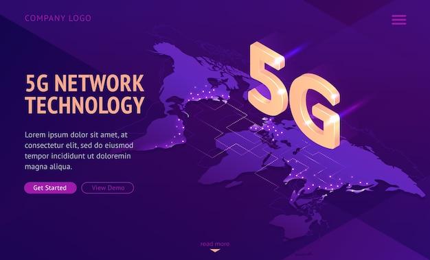 Página de inicio isométrica de tecnología de red 5g.