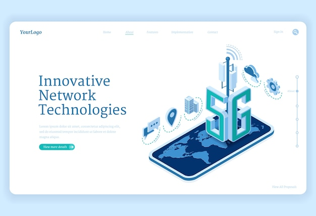 Página de inicio isométrica de tecnologías de red 5g. innovador servicio celular de telecomunicaciones móviles inalámbricas de nueva generación. smartphone con mapa del mundo, banner web 3d de conexión de velocidad de internet