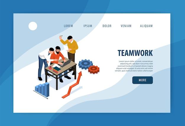 Página de inicio isométrica del trabajo en equipo