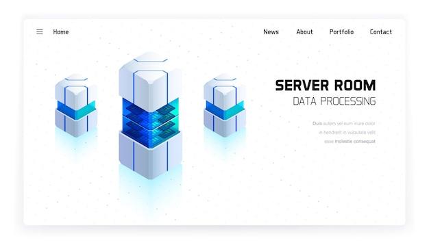 Página de inicio isométrica de vector de sala de servidores