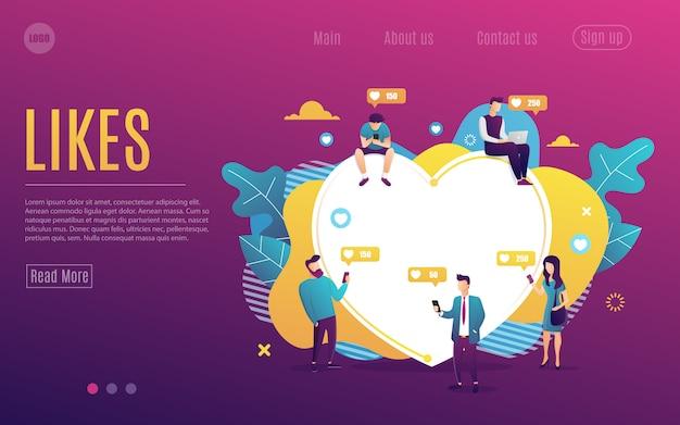 Página de inicio para jóvenes que usan dispositivos móviles como computadoras portátiles y teléfonos para redes sociales y blogs. diseño plano de hombres y mujeres cerca de gran corazón. ilustración de vector