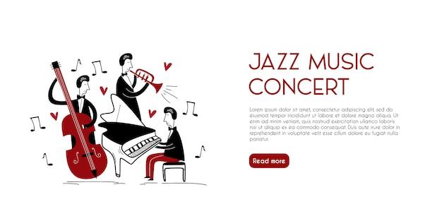Página de inicio de jugadores de jazz vintage con estilo infantil dibujado a mano