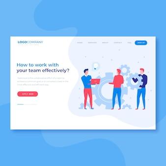 Página de inicio de lluvia de ideas de trabajo en equipo