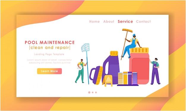 Página de inicio: mantenimiento de piscinas o servicio de limpieza, grupo de personas en miniatura uniformadas, productos de limpieza