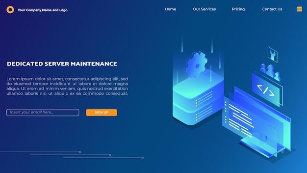 Página de inicio de mantenimiento del servidor en isométrica